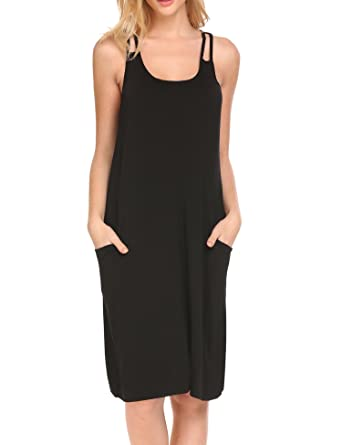 d0f87b34b5 HOTOUCH night sleepwear sleep chemise sleeping gown for women side Pocket  Black S