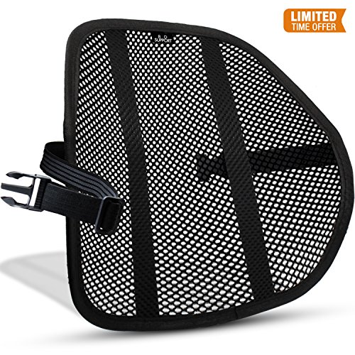Adjustable Lumbar Support Cushion - Mesh Lumbar Back Support Cushion - Breathable Fabric, Sturdy Frame, Non Slip Gripper Adjustable Straps Ergonomic Designed For Comfort And Lower Back Pain Relief - Suitable For Desk Office Chair Car