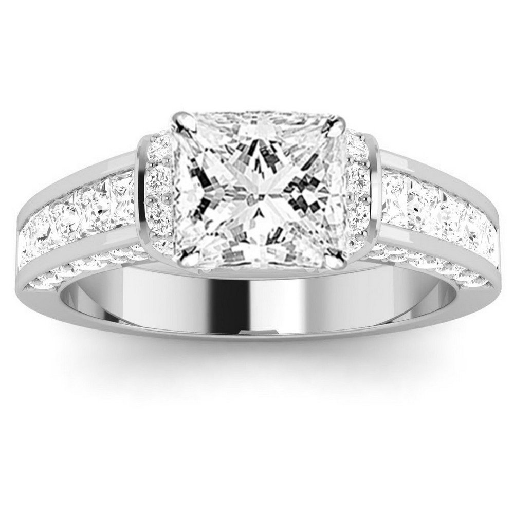 Platinum 1.9 CTW Contemporary Channel Set Princess And Pave Round Cut Diamond Engagement Ring w/ 1 Ct GIA Certified Princess Cut D Color SI1 Clarity Center
