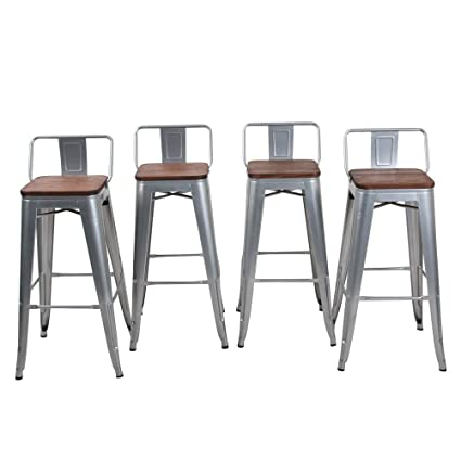 Amazoncom Haobo Home 30 Low Back Metal Counter Stool Height Bar