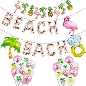 Beach Bach Balloons, Beach Bachelorette Hawaii Luau Flamingo Ring Palm Tree Tropical Summer Party Banner, Flamingo Bach Bachelorette Party Supplies Decorations