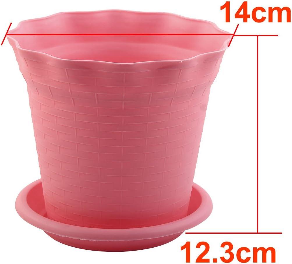 uxcell Plastic Home Garden Decor Flower Plant Pot 14cm Diameter 5pcs Pink
