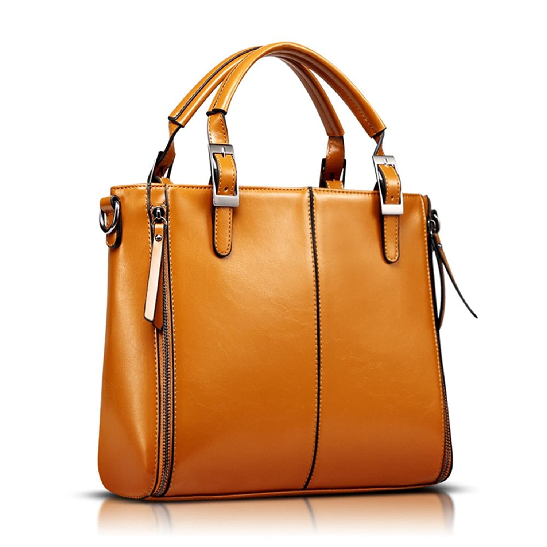 Lady Women Vintage Wax Leather Bucket Business Work Place Top-handle Medium Handbags