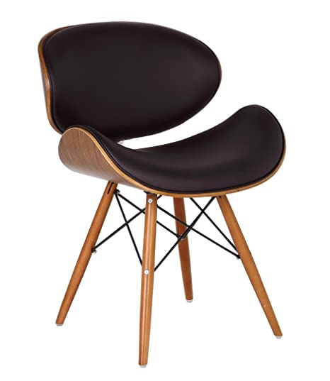 Eames Style DSW Brown Faux Leather Eiffel Dining Office Chair Wood Legs  Walnut Finish