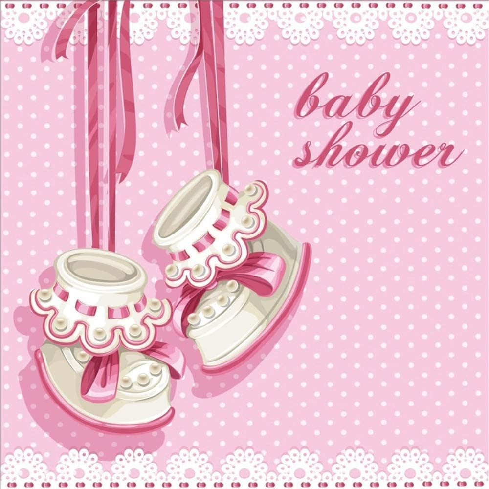 Amazon Com Laeacco 10x10ft Cartoon Girl Baby Shower Backdrop Vinyl Cute Hanging Girl Boots Pink Ribbons Floral Lace Pink Polka Dots Background Girl Baby Shower Party Banner Child Baby Girl Shoot Wallpaper