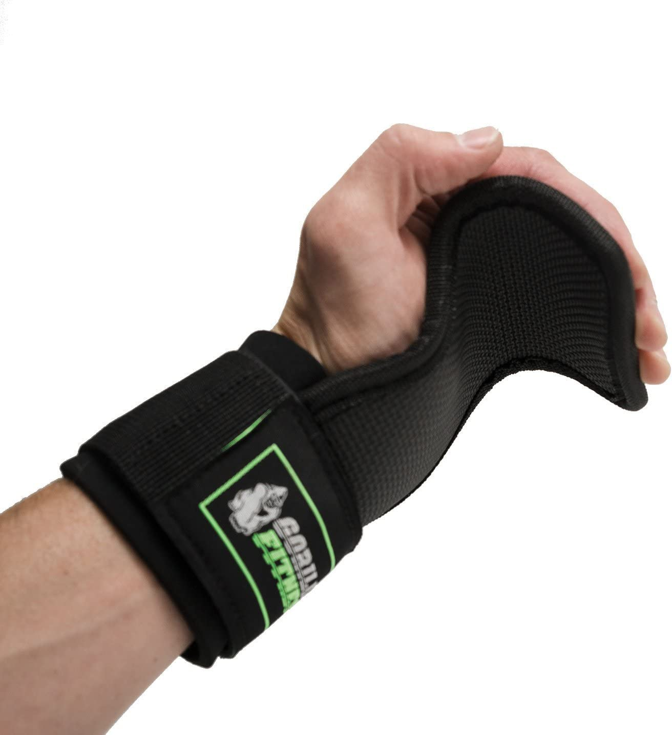 Adjustable weight lifting straps provide wrist support and palm protection Gorilla Fitness Power Gripz