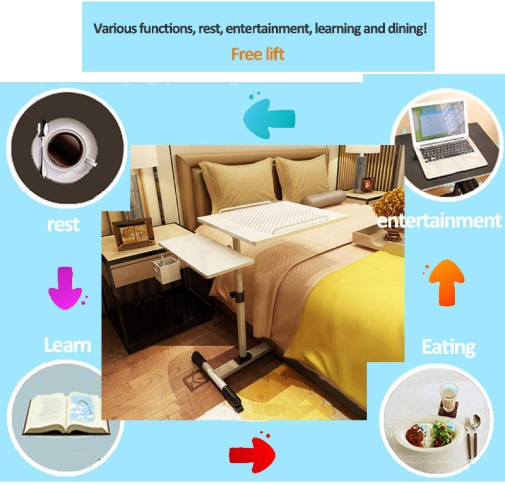 Mesa de Ordenador Portatil con Soporte para Hogar Oficina Soporte para Laptop Altura Ajustable 65-95cm-Negro Metalizado/_Doble Ventilador 68x40cm