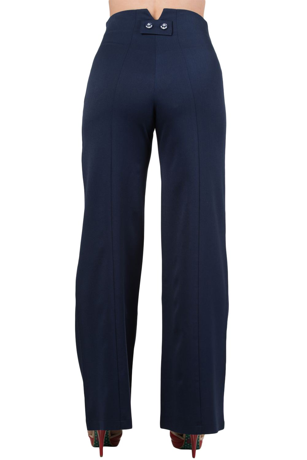 Banned 50's Vintage Sailor High Waist Double Buttoned Wide Leg bell flare Pants (S, Navy) by Banned Apparel (Image #2)