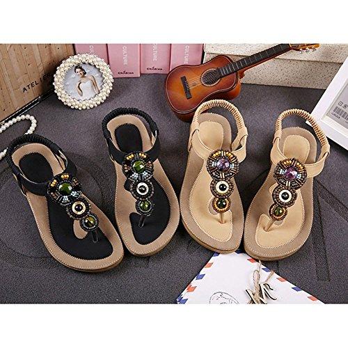 Bohemian Summer Highdas Sandals Toe Beaded Flats Shoes 2016 Ladies Fashion Herringbone Beach Black Women Clip vxxqFEUwf
