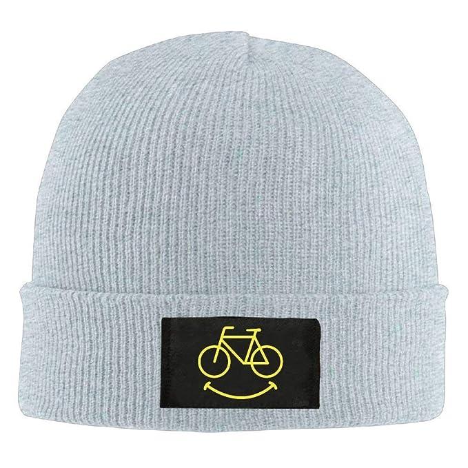 249ecb9245f Amazon.com  Hallome Adult Hats Smiley Bikes Men Women Wool Cap Cartoon  Beanies Knitted Caps Warm Winter Hats  Clothing