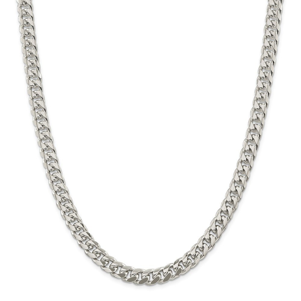 925 Sterling Silver 8.5mm Domed Curb Chain 24 Inch