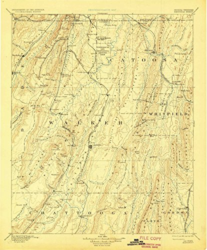 (YellowMaps Ringgold GA topo map, 1:125000 Scale, 30 X 30 Minute, Historical, 1892, Updated 1929, 19.9 x 16.5 in - Paper)