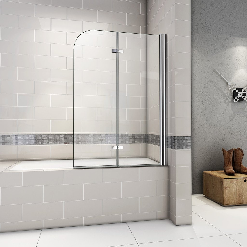 hnnhome 180 pivot folding panel over bath shower screen 6 mm 1000x1400mm 180 degree fold pivot bath screen with hinge and 6mm tempered easyclean glass next working