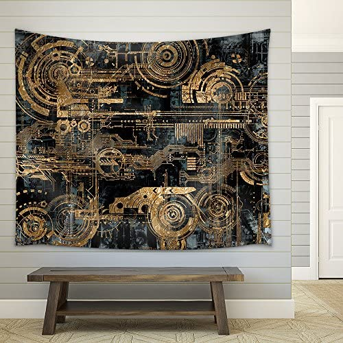A Technically Electronic Background with Device Objects Fabric Wall
