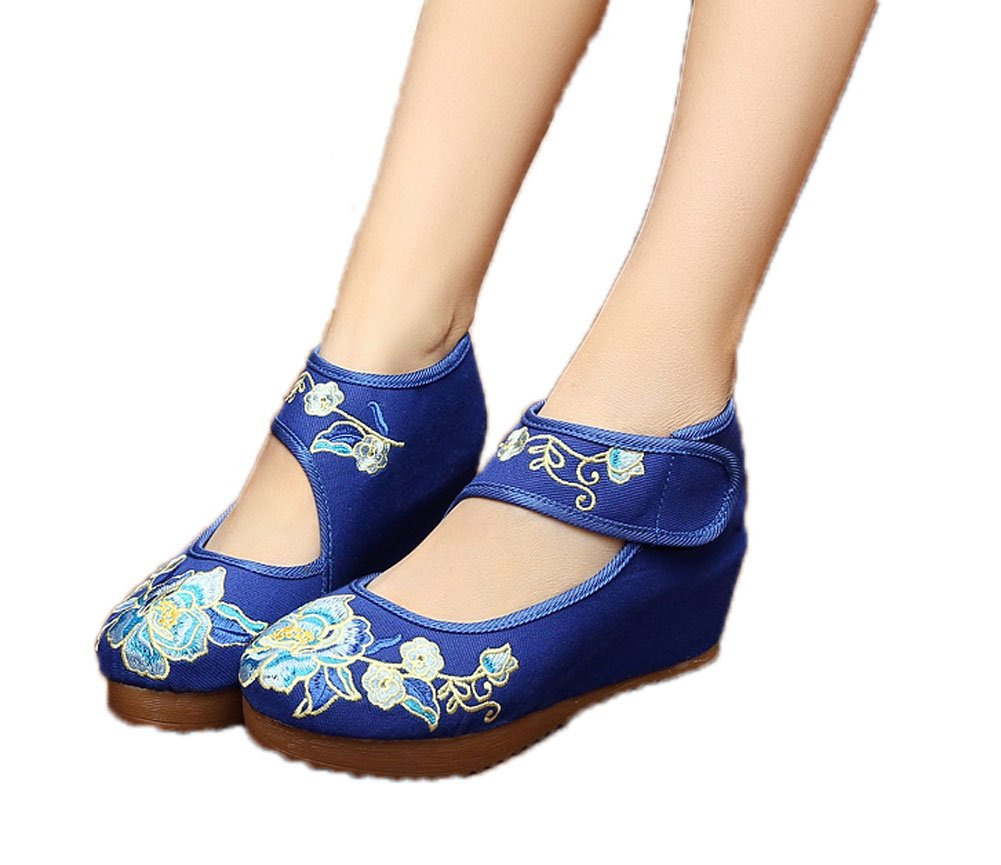 AvaCostume Womens Velcro Chinese Embroidered Oxfords Sole Fashion Wedge Shoes, Blue 39