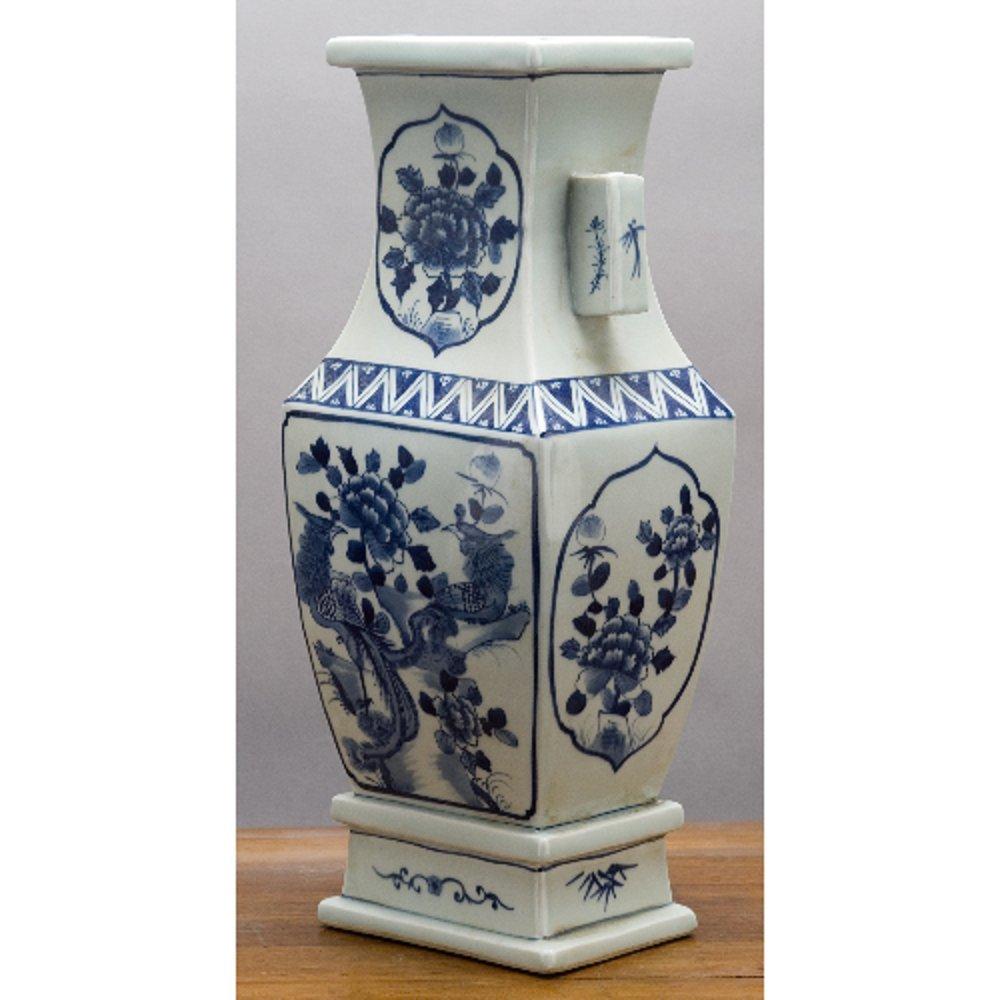 Home decor. Blue And White Porcelain Rectangular Vase. Dimension: 7 x 5 x 17. Pattern: Blue & White Classic.