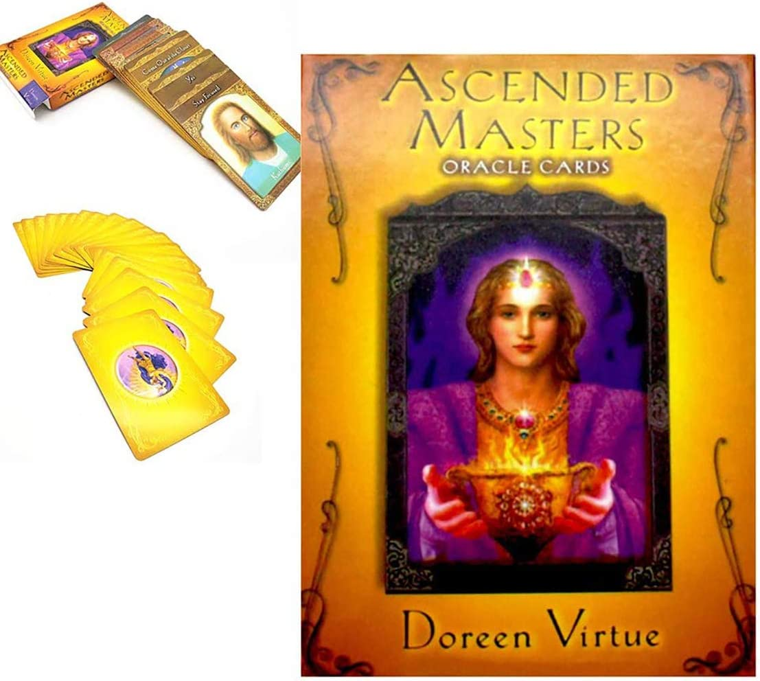 GRELANT Ascended Masters Oracle Cards with Instructions 44 Pcs Gold-Plated Tarot Board Game,Divination Fortune Telling Game Card Set for Family Friends Party Supplies