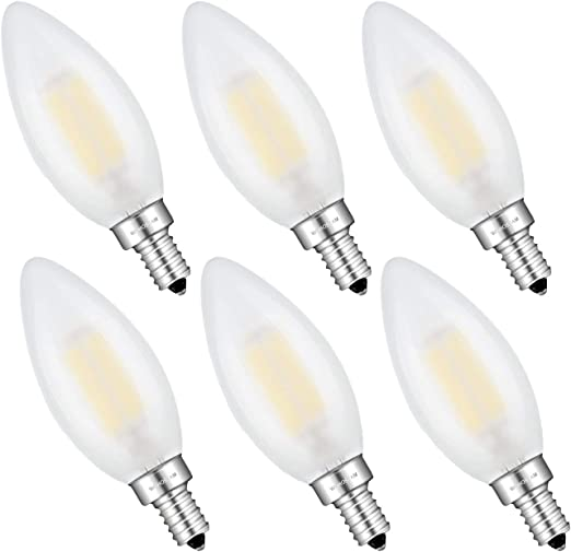 Frosted Glass B11 Torpedo Shape Bullet Top 6 Pack 4000K Neutral White 60W Incandescent Equivalent 600 Lumens WUHOSTAM 6W Dimmable LED Candelabra Bulb Filament E12 Candelabra Base