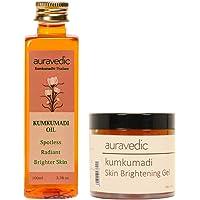 Auravedic Kumkumadi Oil & Kumkumadi Skin Brightening Gel (Pack Of 2) - Kumkumadi Ultimate Brightening Set Night and Day Radiance.