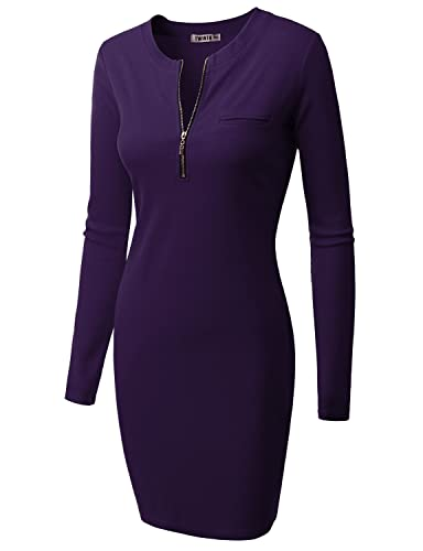 Doublju Womens Long Sleeve Ribbed Knit Dress With Zipper Front