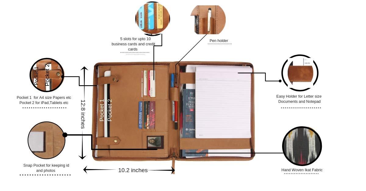 10.2 W 1 Marrone THE LEATHER WAREHOUSE Cartoncino professionale in pelle con portamonete professionale con cerniera compatibile L-12.8H