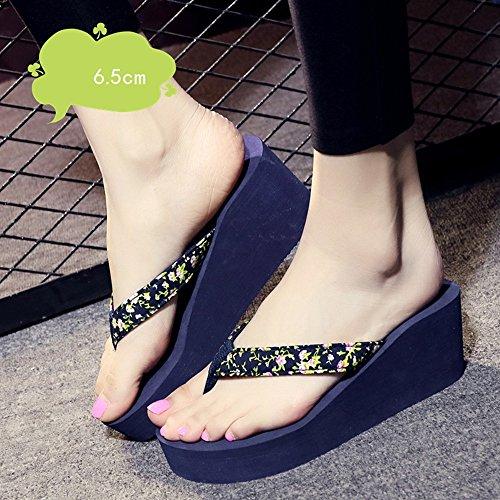 Mujeres Señoras Sandalias 6.5cm zapatos de tacón alto de verano femenino antideslizante zapatos sandalias (negro / beige / azul / marrón) Cómodo ( Color : Beige , Tamaño : 40 ) Azul