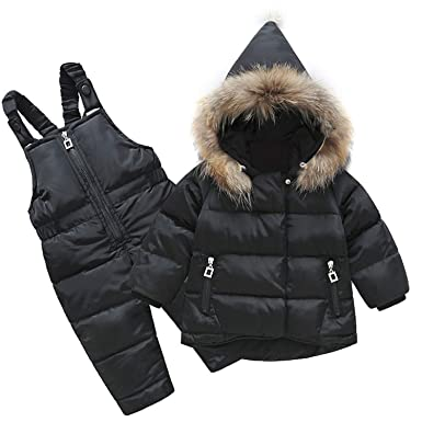 ad78d1198 Boys Skid Brand Winter Children Clothing Set for Girls Jacket Coat Overalls  Warm Down Snow Suit