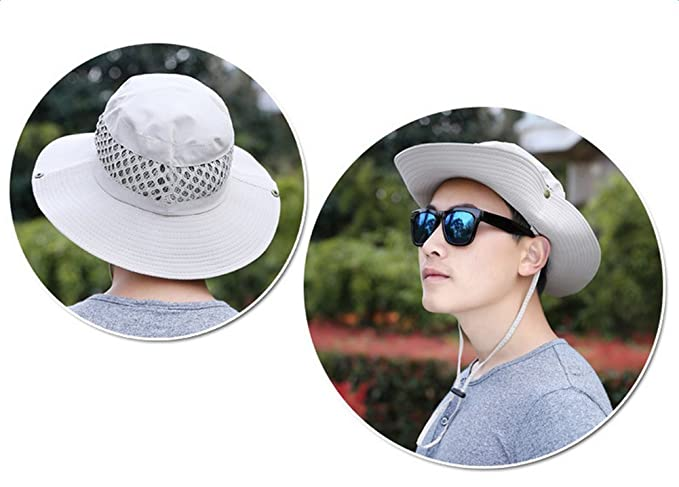 5135e97b5b6 JUNGEN Men s Bucket Hats Sun Hat Neck Flap Cover for Cycling Hiking Outdoor  Camping  Amazon.co.uk  Clothing