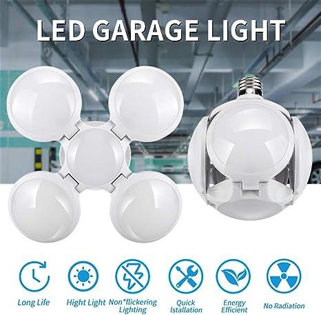 4 x 60W Deformable Garage Light E27 Bulb LED Folding Ceiling UFO Football Lamp