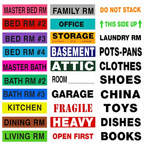 Tag-A-Room 2650 Count Moving Labels Color Coded, Ultimate Mega Move Pack, 50 Different Labels (Living Spaces, Alerts, Content) 4-5 Bedroom House, Moving Supplies
