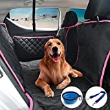 CCJK Pet Dog Car Seat Cover for Cars Trucks, Waterproof Surface Anti-Scratch Material, with Pet Car Seat Safety Belt and Collapsible Silicone Pet Bowl as Free Bonus