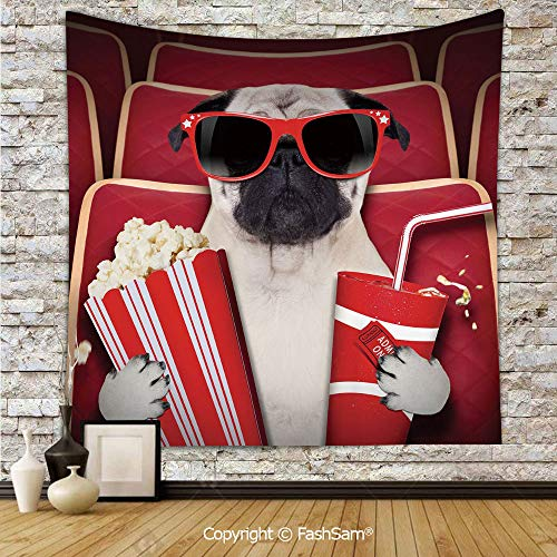 FashSam Tapestry Wall Blanket Wall Decor Funny Dog Watching Movie Popcorn Soft Drink and Glasses Animal Photograph Print Home Decorations for Bedroom(W59xL78)]()