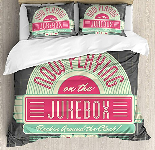 Jukebox Bedding Sets, Charcoal Grey Backdrop with 50s Inspired Radio Music Box Image, 4 Piece Duvet Cover Set Quilt Bedspread for Childrens/Kids/Teens/Adults, Mint Green Hot Pink and White,Twin Size