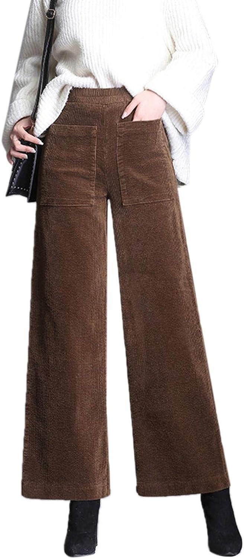 Dazosue Pantalones Casuales De Pana Cintura Elástica Pierna Ancha Pantalones De Mujer