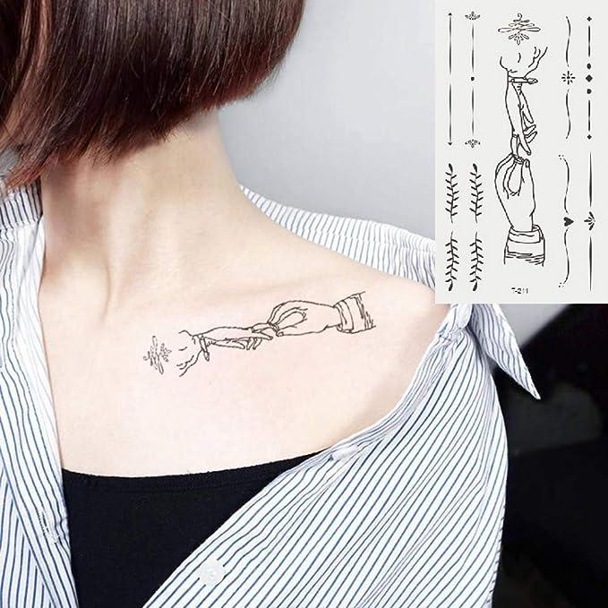 Oottati 2 Hojas Pequeño Lindo Tatuaje Temporal Tattoo Boda Dedo ...