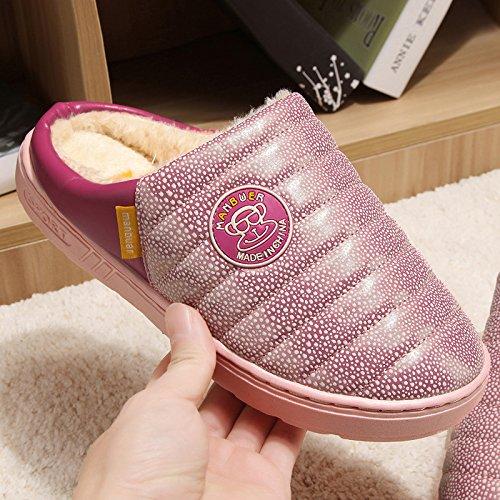 Fankou Autunno e Inverno candy in cotone colore pantofole cartoon home pantofole pavimento interno morbido, disattivato le coppie calde pantofole ,40-41, rosa 075
