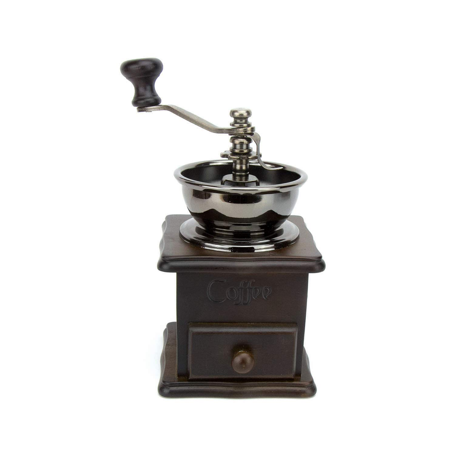 Evelyne GMT-10013 Manual Coffee Grinder Wooden Base with Drawer Coffee Bean Mill Vintage Antique Style Hand Crank