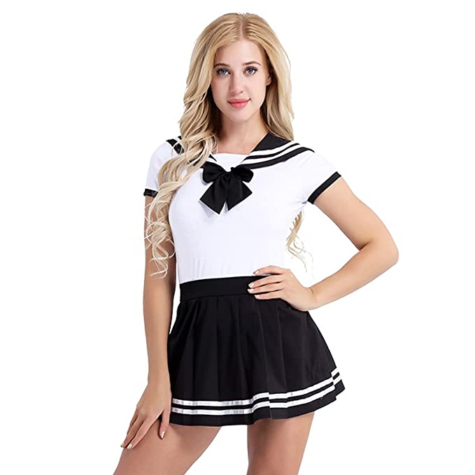 35e0d03eff5e MSemis Women Japanese Anime Lolita Schoolgirls Uniform Sailor Suit Romper  Outfit Cosplay Costumes Black Medium