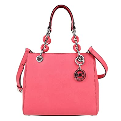65d3ecc1cc84 Amazon.com: MICHAEL Michael Kors Womens Cynthia Leather Tote Satchel Handbag  Pink Small: Shoes