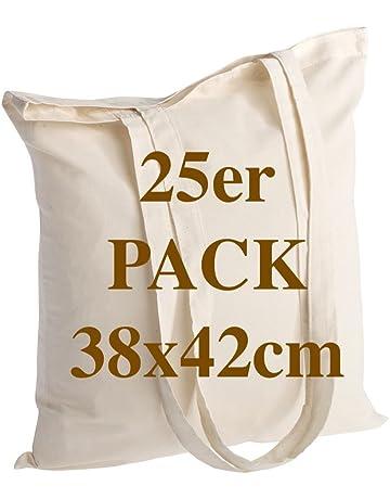 POLHIM Bolsa de algodón de Calidad 25 Piezas 145 g/m2 tamaño 38x42 cm Mango