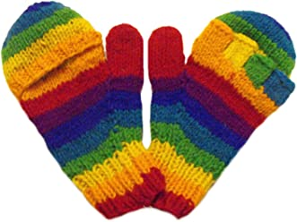 856306b84ae28 Hand knitted Fair Trade 100% Wool Rainbow Fingerless Gloves with Mitten  Covers aka Smittens or