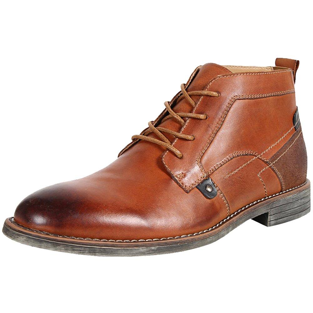 rismart Men's Ankle High Popular Round Toe Popular High Leather Chukka Boots B078MFG6PX Chukka fbe8b2