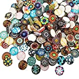 Misscrafts Mosaic Tiles Round Mixed Patterns 200pcs for Crafts Glass Mosaic Supplies