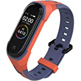 KOMI Silicone Replacement Strap, Two-Color Sport Adjustable Smart Bracelet Watch Wristband Compatible with Mi Band 5/4/3 Stra