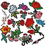 Iron on Patch Embroidery Patches, Satkago 15Pcs DIY Flower Rose Patch Embroidered Patch Sew On Patches Applique for Clothes Jackets T-shirt Jeans Skirt Vests Scarf Hat Bag