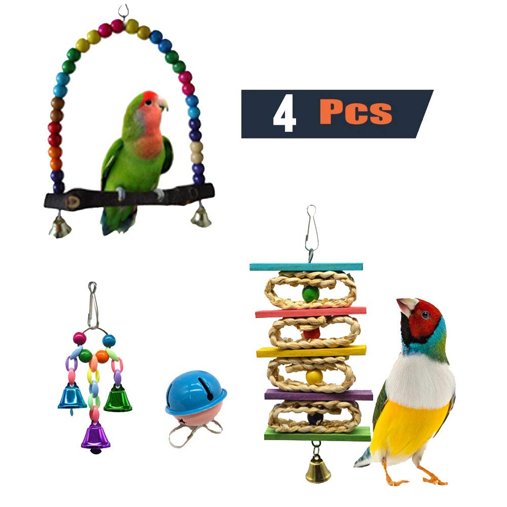 4 Pieces Parakeet Bird Toys Perches Swing Toys Climbing Cage Hanging Toys with Bells for Conures Parreds Parakeets Cockatiels Macaws Finches