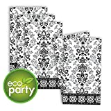 Black, Silver and White Ornate Damask ECO Guest