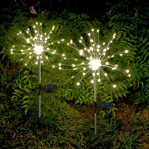Solar Garden Lights Solar Firework Lights Solar Powered String Light with 2 Lighting Modes Twinkling and Steady-ON for Garden, Patio, Yard, Flowerbed, Parties