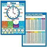 Póster educativo para niños con tabla de multiplicación y tiempo de conteo, juego de 2 pósteres para aprender a decir la hora