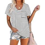 WIHOLL Women Summer T Shirts Short Sleeve Rounded V Neck Pocket Tee Tops